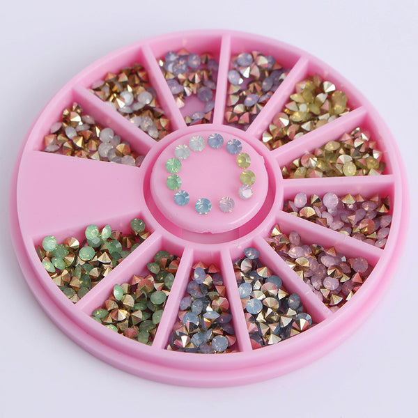 1 Box Colorful Sharp Bottom Rhinestone 3D Nail Decoration 2.5mm Opal Decoration In Wheel Manicure Nail Art Decoration
