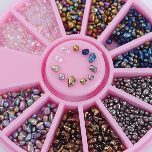 1 Box Mixed Color Rhinestone Small Irregular Beads 3D Nail Art Decoration in Wheel Manicure DIY Nail Decoration