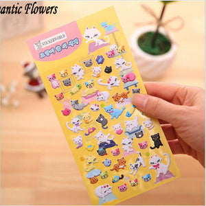 1 Kawaii 3d Cute Cat Cartoon Bubble Stickers Nursery Collage Creative Stationery Gift