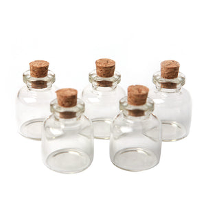 1 Lot 5 Pcs 22x28mm Empty Tiny Small Clear Cork Message Glass Bottles Vials 4ml #MD686