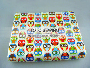 1 meter 100% cotton fabrics by Meter 160cmx100cm colorful cartoon owl Printed for Quilting Children Dress Bedding Tilda Cloth
