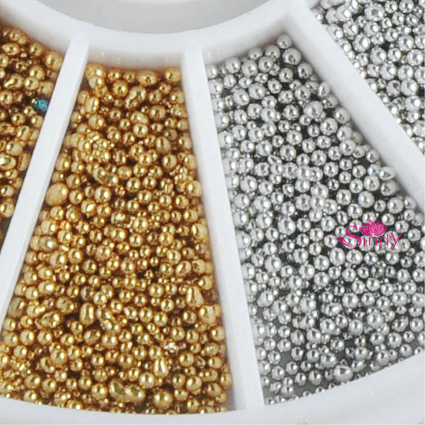 1 mm 3D Nail Art Decorations Gold Silver Metal Materials Beads Wheel All For Nails DIY Nail Ball Wheel ZX: NW004