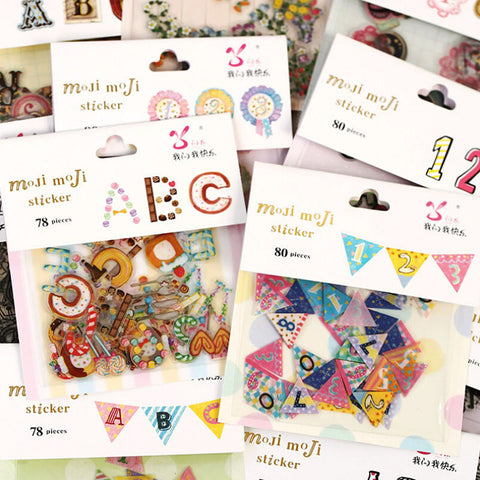 1 pack x color figure&letter paper sticker diy album scrapbooking post it memo sticker kawaii stationery toy for kids