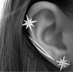 1 Pair Asymmetry Silver Plate Exquisite Crystal Rhinestone Star Ear Cuff Trendy Personality Earring Clip Earring For Women E248