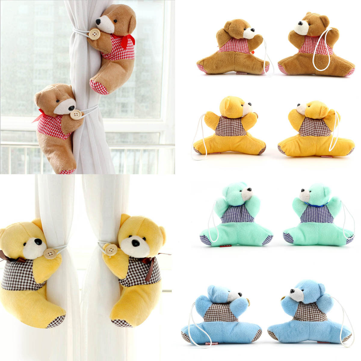 1 Pair Baby Kid Cartoon Bear Holder Nursery Bedroom Curtain Tieback Buckle Hook 4 Colors Free Shipping&Wholesales