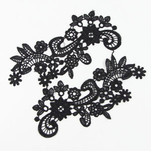 1 Pair Black Lace Trim Applique Polyester Cord Lace Fabric Sewing Accessories High Quality 9.6*17cm