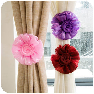 1 Pair Clip-on Flower Bedroom Window Curtain Tieback Buckle Tie Back Holder