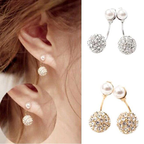 1 Pair Cute Compact Pearl Ear Stud Women Lady Girls Double Ball Fashion Alloy Crystal Rhinestone Earrings Chic Gift HOT Jewelry