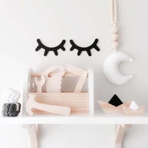 1 Pair Cute Sleepy Eyes wood eyelash wall sticker Home Furnishing baby room pose decorative wooden ornaments kids GIFT Hot A45