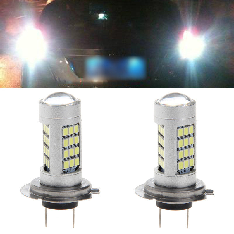 1 pair dc 12v h7 2835 42 led white car fog light bulb 6500k 840lm 1 v=