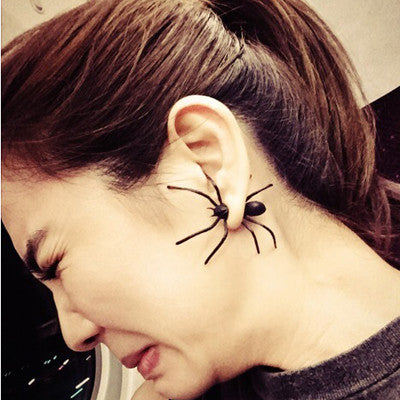1 Pair Fission Simulation Black Spider Stud Earrings For Women Fine Jewelry Piercing Earrings 3212
