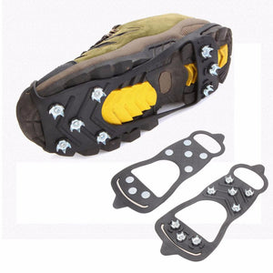 1 Pair Professional Camping Climbing Ice Crampon 8 Studs Anti-Skid Ice Snow Walking Shoe Spike Grip Winter Outdoor Equipment