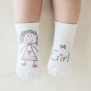 1 Pair Unisex born Baby Girl Boy Cute Hand Printed Style Socks Kids Child Soft Stylish meias infantil