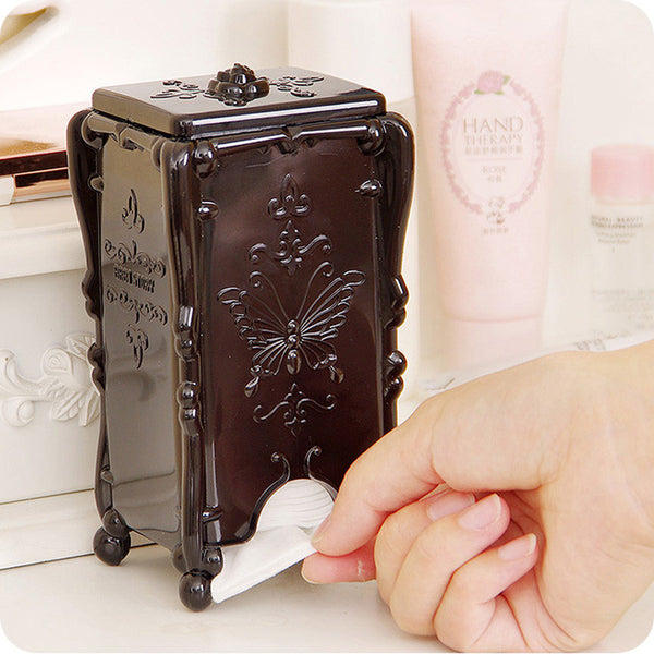 1 PC Acrylic Makeup Cotton Pad Cosmetic Organizer Case Storage Box Holder Acrylic 3 Colors Antique Rose Butterfly 8 * 7 * 15 cm