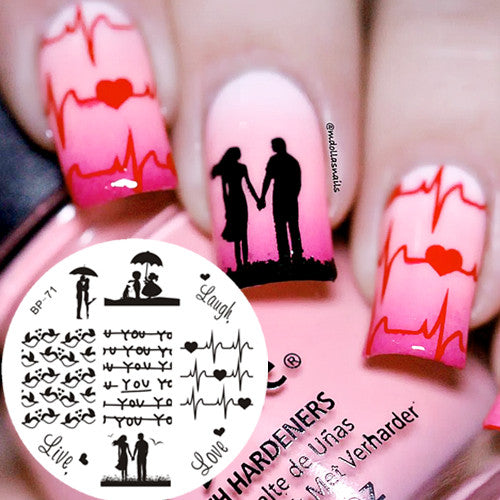 1 Pc BORN PRETTY BP71 Love Theme Couple Heart Nail Art Stamping Template Image Plate Cute Birds Image Stamp Plate