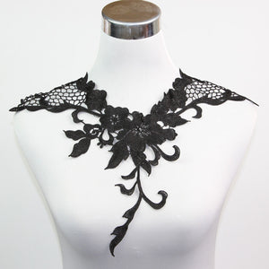 1 Pc Costume Sewing Dress Applique Brilliant Black Neck Collar Lace Sewing Decor S10563H