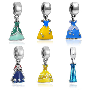 1 Pc Enamel Princess Dress Charms Dangle Bead Silver Plated Pendant Charm Beads Fit DIY Pandora Charm Bracelets Fashion Jewelry