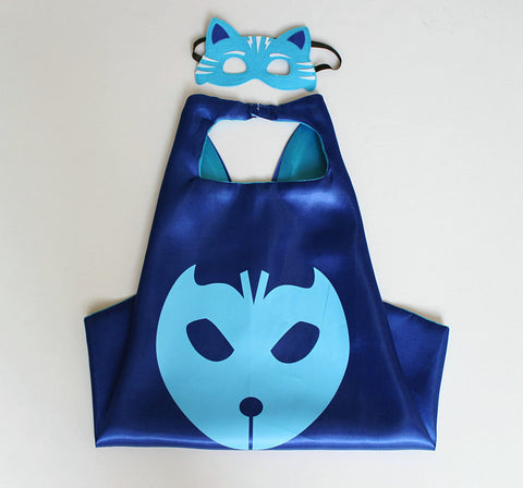 1 Pc Gift for Kids 3 Set Cloak Catboy Owlette Gekko cape + MASK Male children's birthday party mask boy Cosplay free shipping
