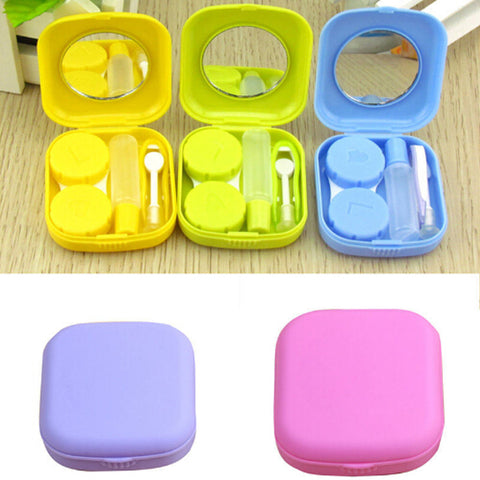 1 pc hot selling Pocket Mini Contact Lens Case Travel Kit Mirror Container High Quality Cute portable 5 colors