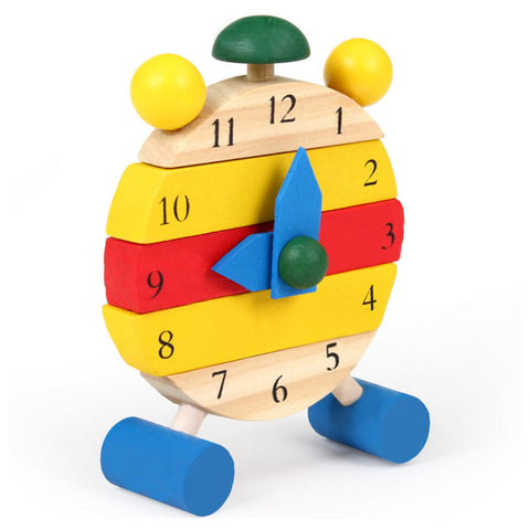 1 Pc Kids Baby Montessori Wooden Educational Early Learning Color Digital Cognitive DIY Clock Model Building Block Toys Gifts