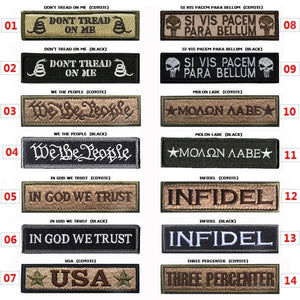1 PC Morale Slogan Banner Embroidery Badge Patch Military Armband Men Women Embroidered Tactical Patches 2.6*9.5CM