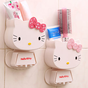 1 PC Multifunction Cartoon Toothbrush Holder Hello Kitty Storage Box Bathroom Accessories Paste Container For Bathroom C0