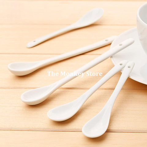 1 Pc NEW Korean Creative Coffee Spoon Stirring Long Handle Spoon Stir Coffee Spoon Ceramic Delicate And Lovely F3806