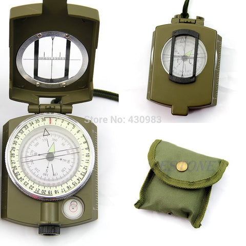 1 PC Professional Army Outdoor Use Military Geology Pocket Prismatic Compass + Pouch