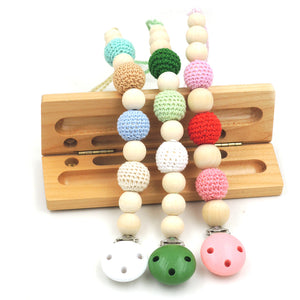 1 PC SALE 3 COLOR TO CHOOSE Natural Baby pacifier clip Dummy holder Crochet beads Girl Boy new mommy gift NT128