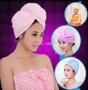 1 pcMicrofiber Bath Bathing Quick Dry Hair Magic Drying Turban Wrap Towel Hat Cap