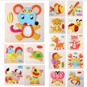 1 Pcs 16 Animals Shapes Jigsaw Hot Wood Toys For Children Baby Kids Intelligence Educational Toys puzzle