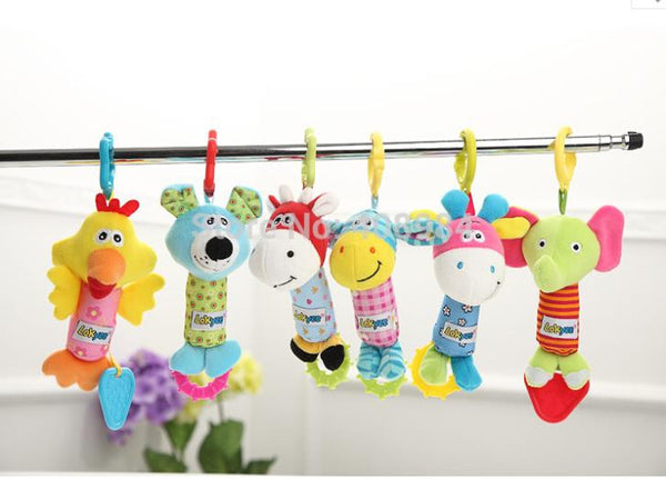 1 pcs Catoon Animal hanging Model Hand bell baby Soft Rattles plush toy teether