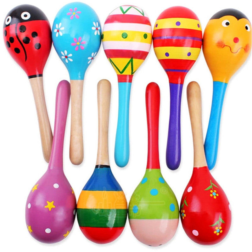 1 pcs Kids Wooden Ball Rattle Toy Sand Hammer Rattle Educational Learning Musical Instrument Percussion For Baby 0-12 Month Hot