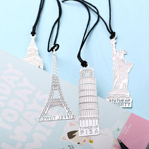 1 PCS London Eiffel Tower Statue of Liberty Book Markers Metal Bookmark for Stationery Books Office Supplies