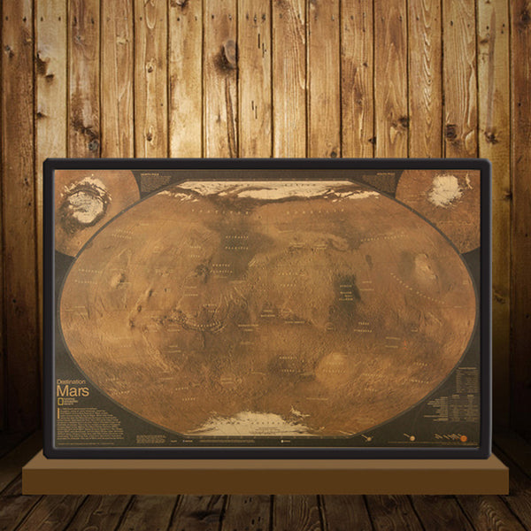 1 pcs Mars Map Wall Sticker Bar Coffee Home Living Room Decoration Kraft Paper Poster Hanging