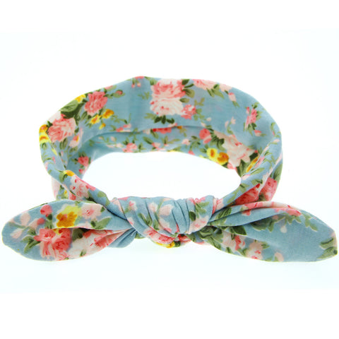 1 pcs New Cute Baby Printing Rabbit ears Headband Bow Knot Elasticity Girls Hair Band Cotton Headwear kids Hair Accessories W190