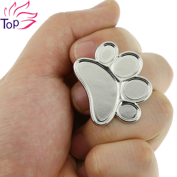 1 Pcs Pro Feet Design Cosmetic Makeup Mixing Palette Tool Stainless Steel Nail Art Ring Tools JH265