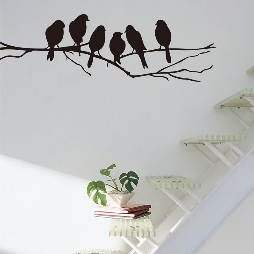 1 pcs Removable Black Birds Tree Branch PVC Stickers Mural Art Decal Home Room Decoration Wall Stickers