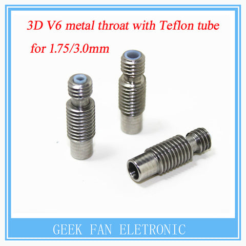 1 PCS Stainless Steel 3D V6 Heat Break Hotend Throat with Teflon tube for 1.75 mm 3.00mm Filament 3d Printer Free Shipping