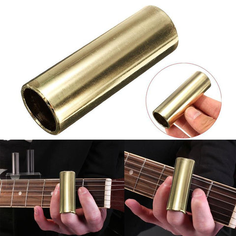 1 Pcs Stainless Steel Metal Guitar Slider Finger Knuckle String Slides Cylinder Tube 70mm Golden