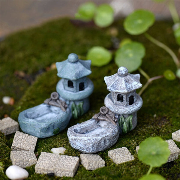 1 pcs Vintage Artificial Pool Tower Miniature Fairy Garden Home Decoration Mini Craft Micro Landscaping Decor DIY Accessories