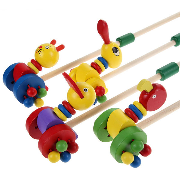 1 Pcs Wooden Toy Cartoon Baby Coagent Toddler Children Putting Animals Wooden Puzzle Trolley European and American Toys