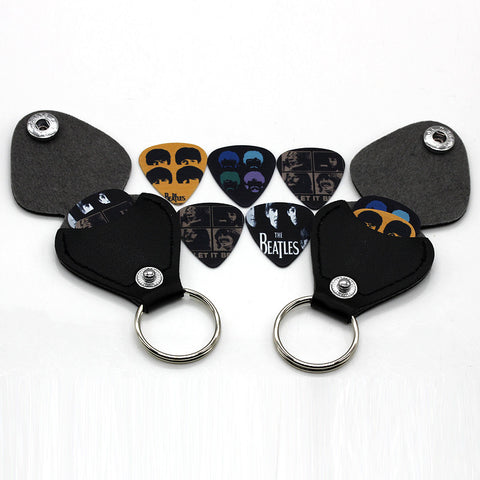 1 piece guitar picks case coin purse Black Faux Leather Key Chain Style Guitar Picks Holder Plectrums Case Bag Key ring