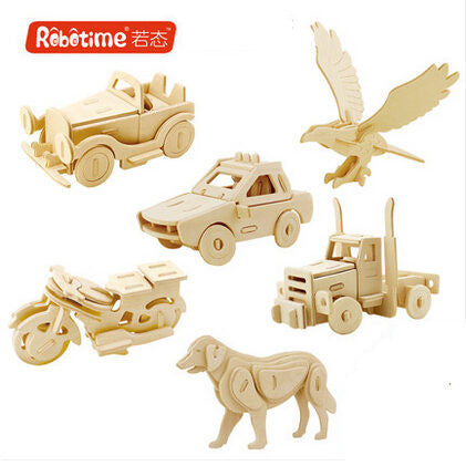 1 piece Robotime DIY 3D Wood Puzzle Butterfly Elephant Horse Lion Airplane Dinosaurs Handmade Educational Toys for Children