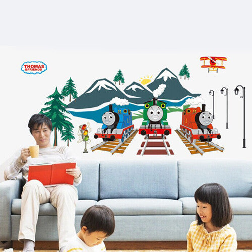 1 set 20*43 Inch Removable PVC Decals Thomas the Tank Engine Fluorescent Wall Sticker For Kids Room Wall Decoration ABQ9614