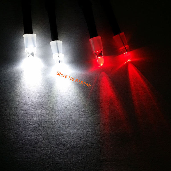 1 Set 2x5mm White & 2x3mm Red LED Light System 4P for RC 1 10 Drift Night headlamps headlights