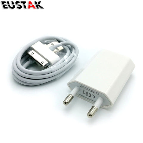 1 set 5V 1A EU Plug Wall USB Charger Adapter + 30 pin USB Sync Charge Charger Cable For iPhone 4S 4 3G White phone charger