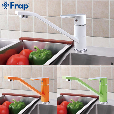 1 Set Fashion Style Multi-color Kitchen Faucet Cold and hot water taps White Orange Green 360 Rotation F4931&F4932&F4933