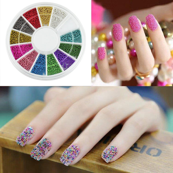 1 Set Manicure 12 Color Steels Metal Beads Studs For Nails Design Wheel Charms 3D Decorations Nail Art Supplies For Salon