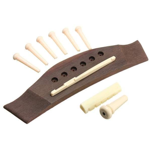 1 Set Professional Universal Acoustic Guitar Bridge + Bone Bridge Pins Saddle Nut Saddle Guitar Parts & Accessories